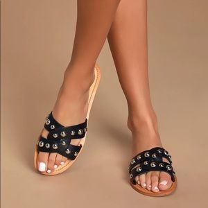 Marc Fisher Pagie Black Leather Studded Sandals 8